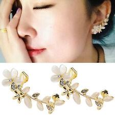 2 Pcs Women Crystal Flower Cuff Ear Bone Clips Non-piercing Earrings S4