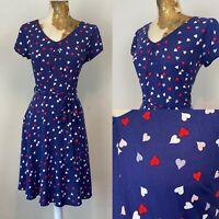 Billie & Blossom Dress 12 Blue Aline Heart Print Fit Flare Tea Valentines V Neck