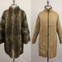 Vintage 70s Reversible Fur Coat with Cotton Lining Size Small/Medium