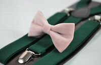 Blush Dusty Pink Velvet Bow tie + Emerald green Elastic Suspenders Men Youth Boy