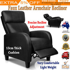 Faux Leather Armchair Recliner Chair Black Sofa Reclining Home Office Lazy Seat