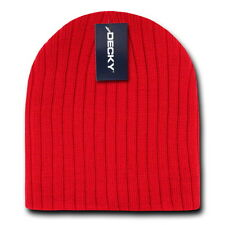 Dark Red Ribbed Cable Beanie Knit Cap Skully Winter Hat Ski Snowmobile Outdoor