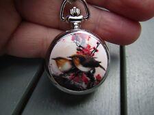 bird mini enamel  necklace pendant pocket watch silver tone