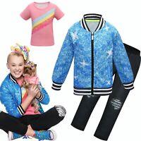 Girl's Fancy Dress Jojo Siwa Cosplay T-shirt Jacket Coat Pants Set Party Costume