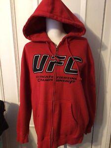 UFC Red Zip Up Hoodie Sweatshirt Ultimate Fighting Championship MMA MEDIUM EUC