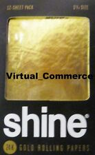 NEW Shine 12 Sheet Pack 24K Karat Gold Rolling Paper Papers Package + QUICK SHIP
