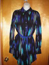 NWT NEW womens size XS black green aqua gray purple multi shirtdress belted $39