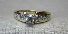 11 Diamond .38CT Engagement Wedding Ring 14K Gold Antique Estate Jewelry