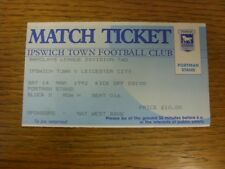 14/03/1992 Ticket: Ipswich Town v Leicester City  (folded). Thank you for viewin