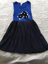 Monsoon 7-8 Years Blue Dress Summer Jersey Peacock Sequins Velvet Chiffon RRP£30