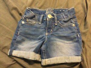 Justice Girls Size 7 SLIM Denim Jean Blue Shorts Rolled Hemmed light blue wash