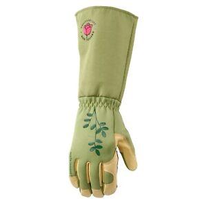 Wells Lamont 4127 Rosetender Leather Gardening Gloves Foldable Gauntlet Cuff