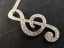 Sparkling Rhinestones Treble Clef Musical Note Theme Necklace - Bright Gold Tone