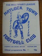 10/02/1987 Matlock Town v Caernarfon  (Light Crease, Small Rusty Mark In Top Cor