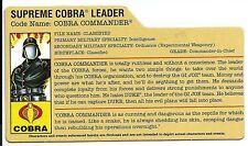 G I JOE File Card Filecard  2007 Cobra Commander V26  ( Cobra  legions Pack )