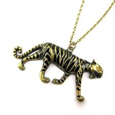 Vintage crystal eye bronze black leopard / tiger charm necklace