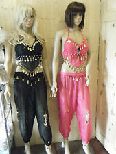 BELLY DANCING FANCY DRESS COSTUME OUTFIT NET HAREEM TROUSERS SEXY BRA TOP COINS