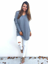 UK Womens Long Sleeve Sweater Blouse Ladies Oversized Knit Jumper Pullover Tops