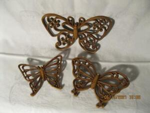 Vintage Home Interior Wall Decor Brown Butterflies 3 Different Sizes Resin/Dart