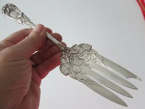 "RARE SIZE - NEW ART "" IRIS "" 1900 DURGIN  - STERLING - 9 3/4 in SERVING FORK  #7"