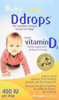 3 Pack Baby Ddrops Liquid Vitamin D3 400 IU Dietary Supplement 90 Drops 2.5ml Ea