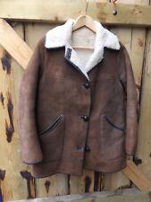"Vintage 60s 70s Nurseys  brown suede shearling sheepskin jacket coat 36 """