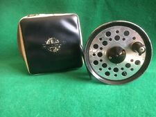 "VINTAGE FISHING - J W YOUNG BEAUDEX 3 1/2"" WIDE DRUM TROUT FLY REEL &  REEL CASE"