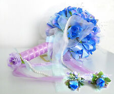 Blue Wedding Bouquet Bridal Posy Rose Silk Flower Artificial Flowers(set of 3)