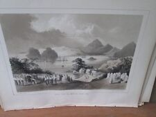 Vintage Print,SIMODA FROM AMERICAN GRAVEYARD,Perry Expedition Japan,1856