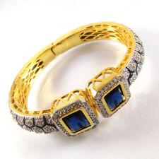 IOLITE & CZ Gemstone High Gold Plated Handmade Designer Cuff Bangle Bracelet