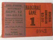 1964 New York Jets Shea Stadium Inaugural Ticket Stub Jets Vs Broncos Sep 12