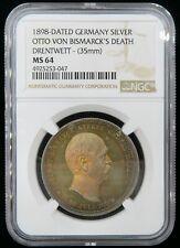 1898 German Silver Medal OTTO VON BISMARCK'S Death Drentwett MS64 Super Toneing
