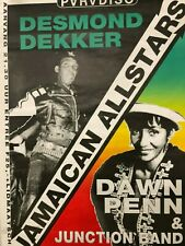 Vintage 1990 Amsterdam Concert Poster Desmond Dekker Jamaican All Stars Reggae