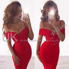 UK Womens Bandeau Plunge Bodycon Dress Ladies Evening Party Midi Dress 6 - 14 Red M
