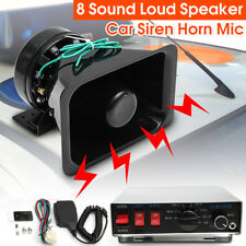 100W 8 Sound Loud Car Warning Alarm Police Fire Siren Horn PA Speaker MIC System