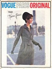 Vintage 60's VOGUE PARIS ORIGINAL NINA RICCI 1560 Drape Dress Sewing Pattern