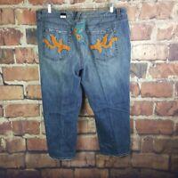 Lane Bryant Crop Capris Jeans Size 22 Embroidered Stretch Denim Distressed