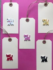 5 X HANDMADE LARGE CREAM CAT GIFT TAGS / LUGGAGE LABELS THANKYOU BIRTHDAY