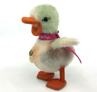Trudi Italy Colorful Play Duck Mohair Plush c1950s 60s Swing Tag 5in 13cm Vtg