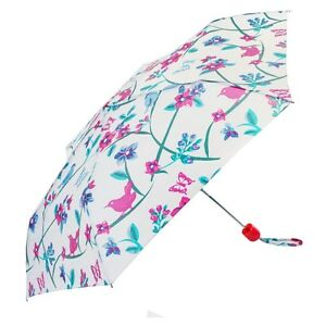 X-Brella White Vintage Birds Print Ladies Compact Umbrella