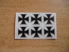set of 6 - Maltese Cross / Iron Cross stickers/decals - 25mm black + white