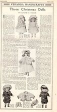 1911 Antique Fashion Print Beautiful Three Christmas Dolls Clothes Louise Hauck
