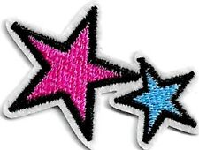 Woven IRON-ON PATCH Sew Embroidery Applique Fashion Badge PINK & BLUE STARS