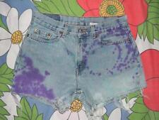 Vintage Levis 505 cut offs jeans shorts blue purple denim dyed 31 inch waist