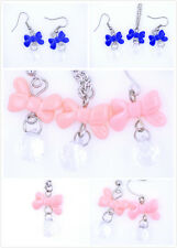 Lovely bow and crystal necklace earrings multiple choices