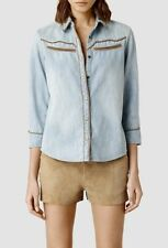ALL SAINTS Western Denim Shirt Blouse RARE Blue Top Snap Sz 6