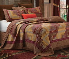 MONTANA RED LOG CABIN 3pc Full Queen QUILT SET : COUNTRY LODGE PLAID CHECKS