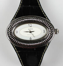 ECCLISSI Sterling Silver Art Deco Womens Watch, Black Straps, New Battery