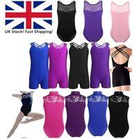 UK Girls Gymnastics Leotards Ballet Dance Wear Children Jumpsuit Costume Uniform