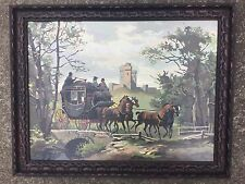 1969 QUALITY Paint By Number LARGE FRAME Painting Stage To London Signed HORSES
